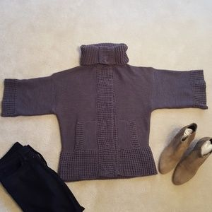 ZARA GRAY CHUNCKY COWL NECK 3/4 SLEEVE SWEATER